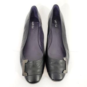 Van Eli Black Leather Flats Mini Wedges Shoes